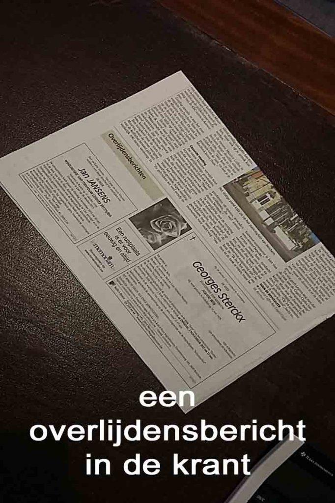 rouwbericht in de krant