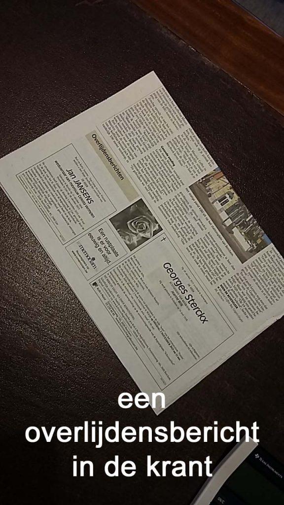 overlijdensbericht in de krant